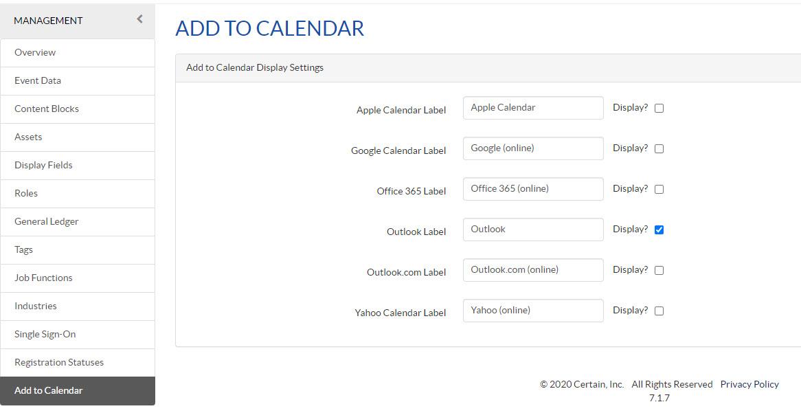 Add to Calendar Configuration