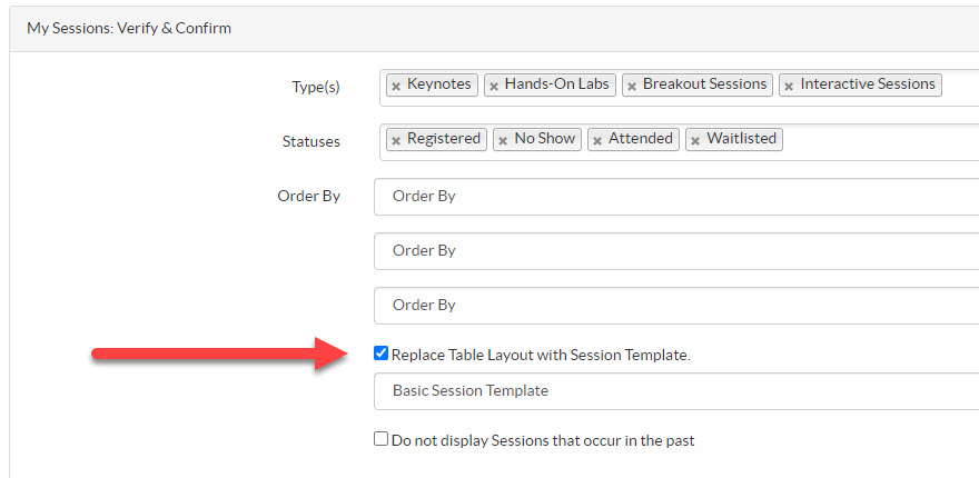 Sessions - Session Template Option